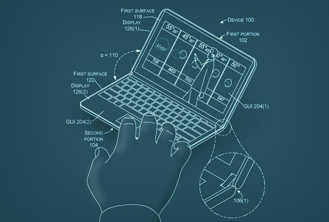 La nueva patente de Microsoft muestra un dispositivo plegable a modo de cuaderno de notas digital
