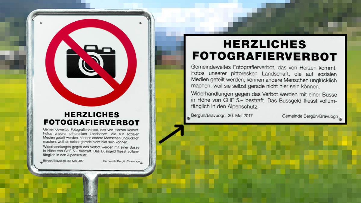 Bergün ha prohibido hacer fotos a sus turistas