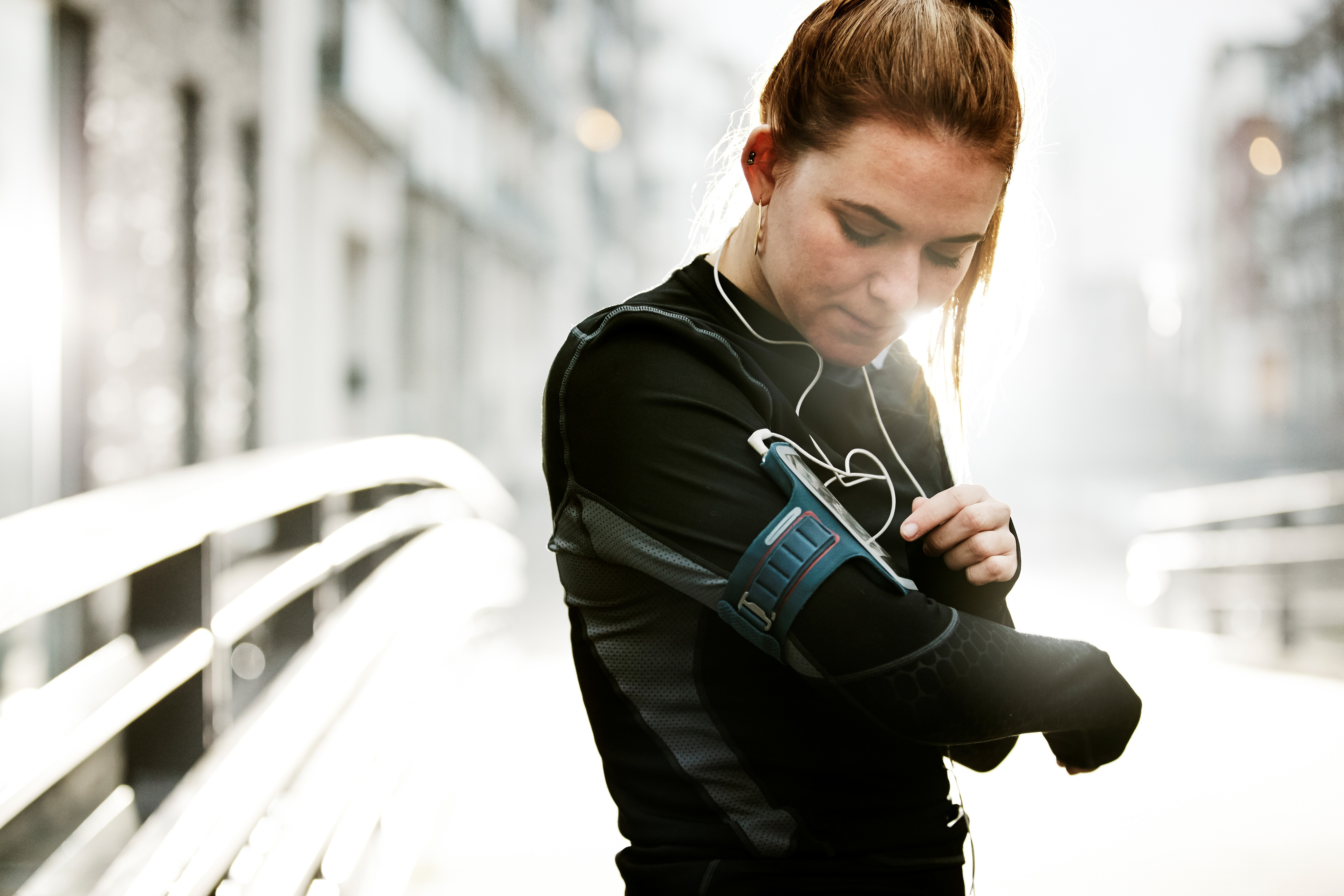 female runner in urban invironment