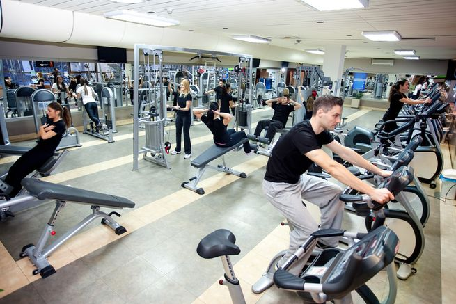 People workout at gym