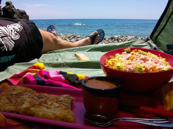 comer en playa