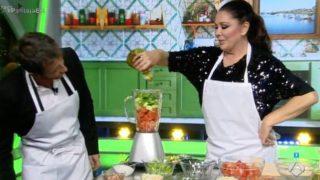 La cantante Isabel Pantoja y el presentador Pablo Motos, durante el programa 'El Hormiguero'