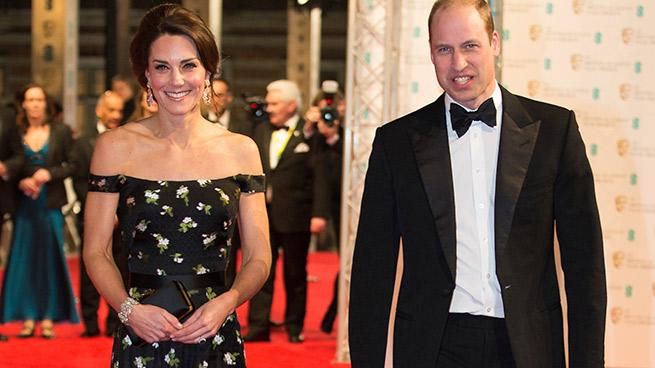 Kate Middleton y el príncipe Guillermo en la alfombra roja de los Premios Bafta 2017