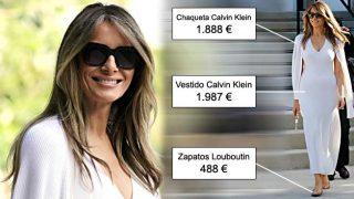 Melania Trump con un look en blanco de Calvin Klein y zapatos de Louboutin / Gtres