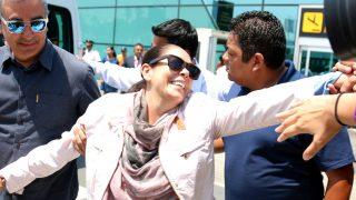 Isabel Pantoja, a su llegada a Lima (Gtres)