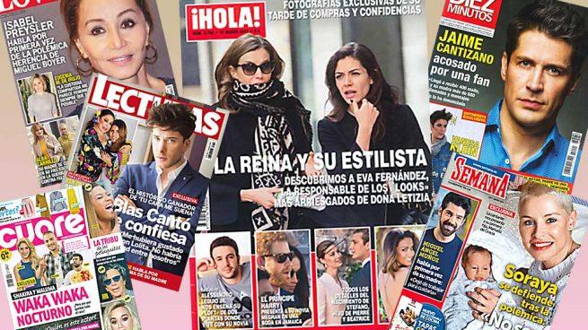 La reina Letizia, Isabel Preysler, Jaime Cantizano y Soraya Arnelas, protagonistas de los kioskos