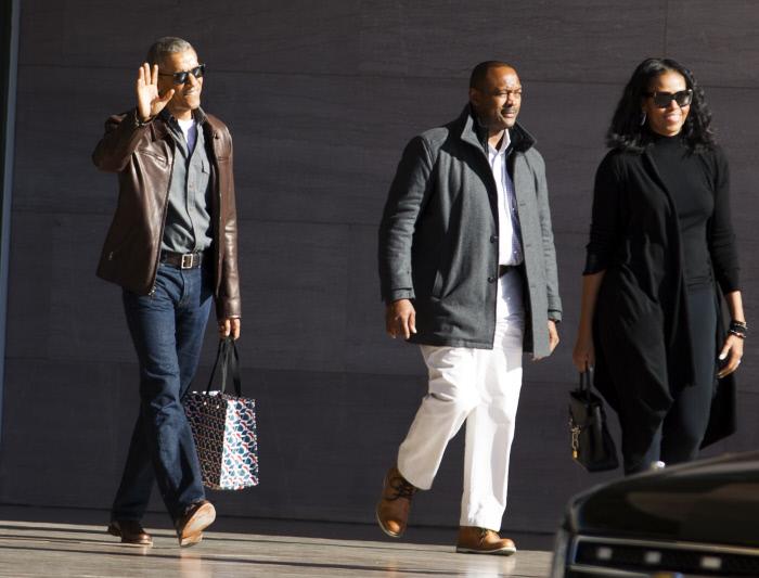 Barack Obama y Michelle Obama chaqueta de cuero