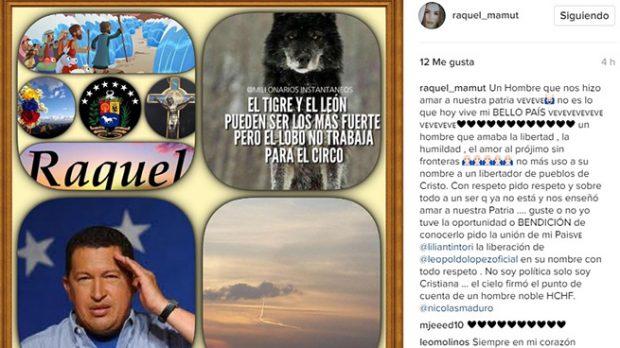Mensaje que le ha dedicado Raquel Bernal a Chávez en su Instagram (Instagram)