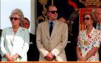 Juan Carlos con su hermana Pilar y doña Sofía