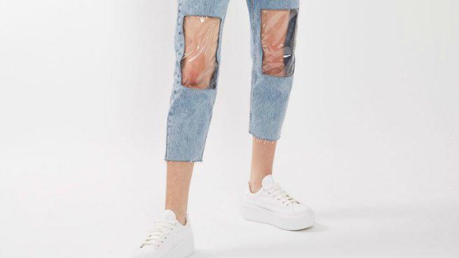 Ripped Jeans Vaqueros Rodilleras Plástico TopShop