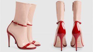 Sandalia roja con calcetín de látex nude / Gucci