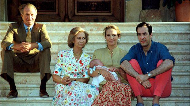 Jaime de Marichalar, la infanta Elena, el rey Juan Carlos y la reina Sofía