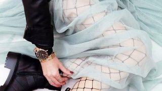 Medias de rejilla con falda de tul semitransparente y botines  / Calzedonia