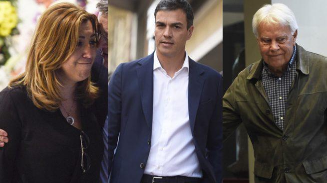 Susana Díaz. Pedro Sánchez y Felipe González