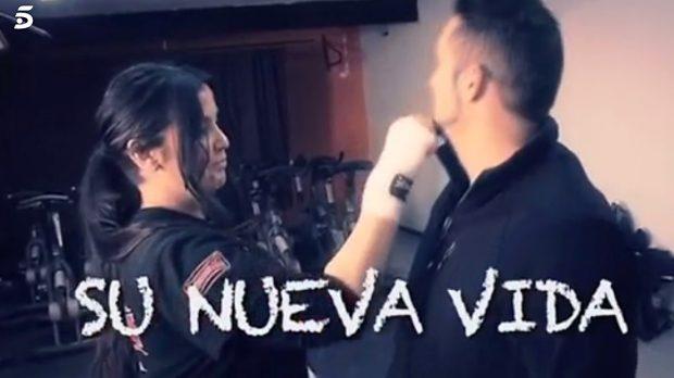 Poli Díaz y su novia Gabriela en un vídeo durante la entrevista /Telecinco