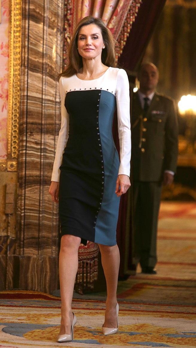 Reina Letizia Vestido Tricolor Felipe Varela