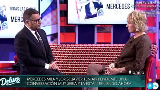 Jorge Javier Vázquez y Mercedes Milá durante la entrevista del 'Deluxe' /Telecinco