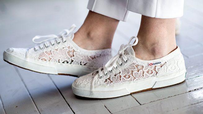 superga encaje zapatillas novias
