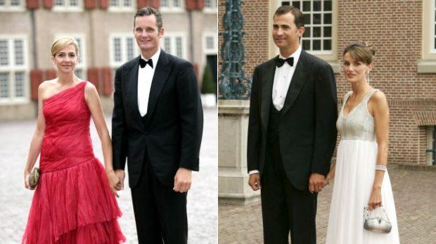 Cristina de Borbón e Iñaki Urdangarin y Don Felipe y doña Letizia en el 40 cumpleaños de Guillermo de Holanda en 2007 (Gtres)