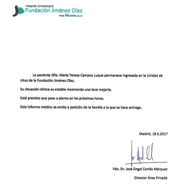 María Teresa Campos, trasladada a planta a las 15:30 horas