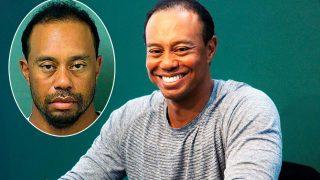 Tiger Woods en el momento de su detención y en una imagen de archivo / Gtres