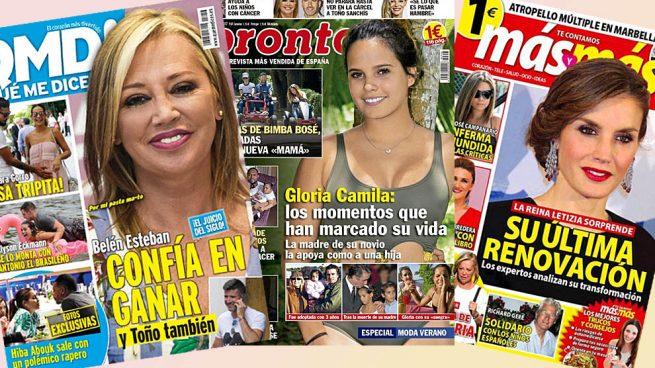 Gloria Camila, Belén Esteban y Doña Letizia, protagonistas del kiosco del lunes