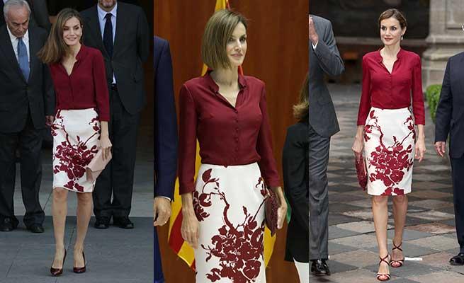 Letizia ha reciclado uno de sus conjuntos de Felipe Varela / Gtres