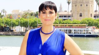 Rosa López durante un acto promocional de la marca andaluza de agua 'Fontarel' /Gtres