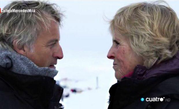 Mercedes Milán con Jesús Calleja en el Polo Norte