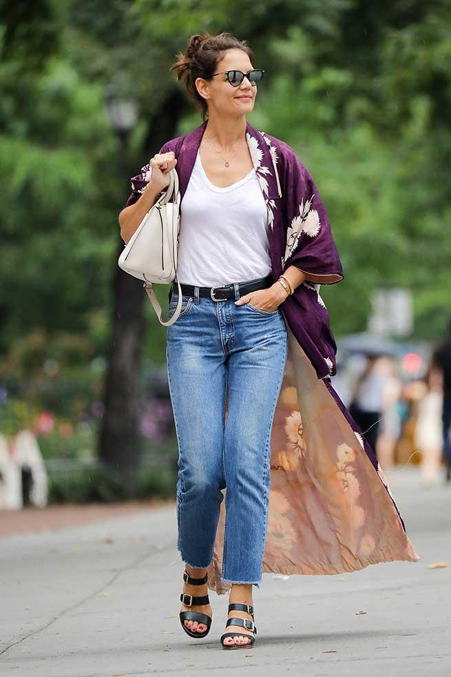 Katie Holmes con kimono en Nueva York / Gtres
