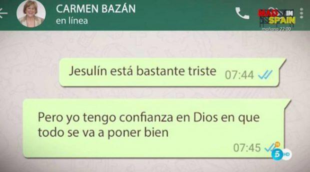 Carmen Bazán, preocupada por Jesulín y María José Campanario