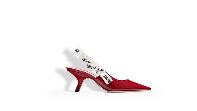 Slingback charol rojo con mensaje / Dior