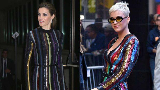Reina Letizia Katy Perry Vestido Rayas Lentejuelas
