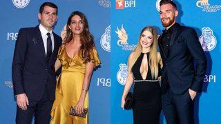 Las parejas formadas por Iker Casillas y Sara Carbonero; Rachel Jacob y José Sá. / Gtres