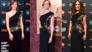 Bárbara, Cristina y Malú posan con el vestido de Elisabetta Franchi / Gtres