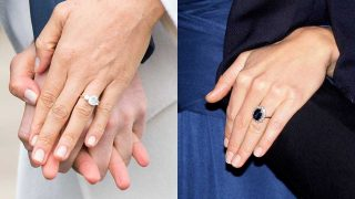 El anillo de compromiso de Meghan Markle y de Kate Middleton. / Gtres