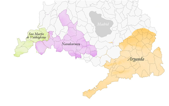 mapa subzonas DO vinos de Madrid