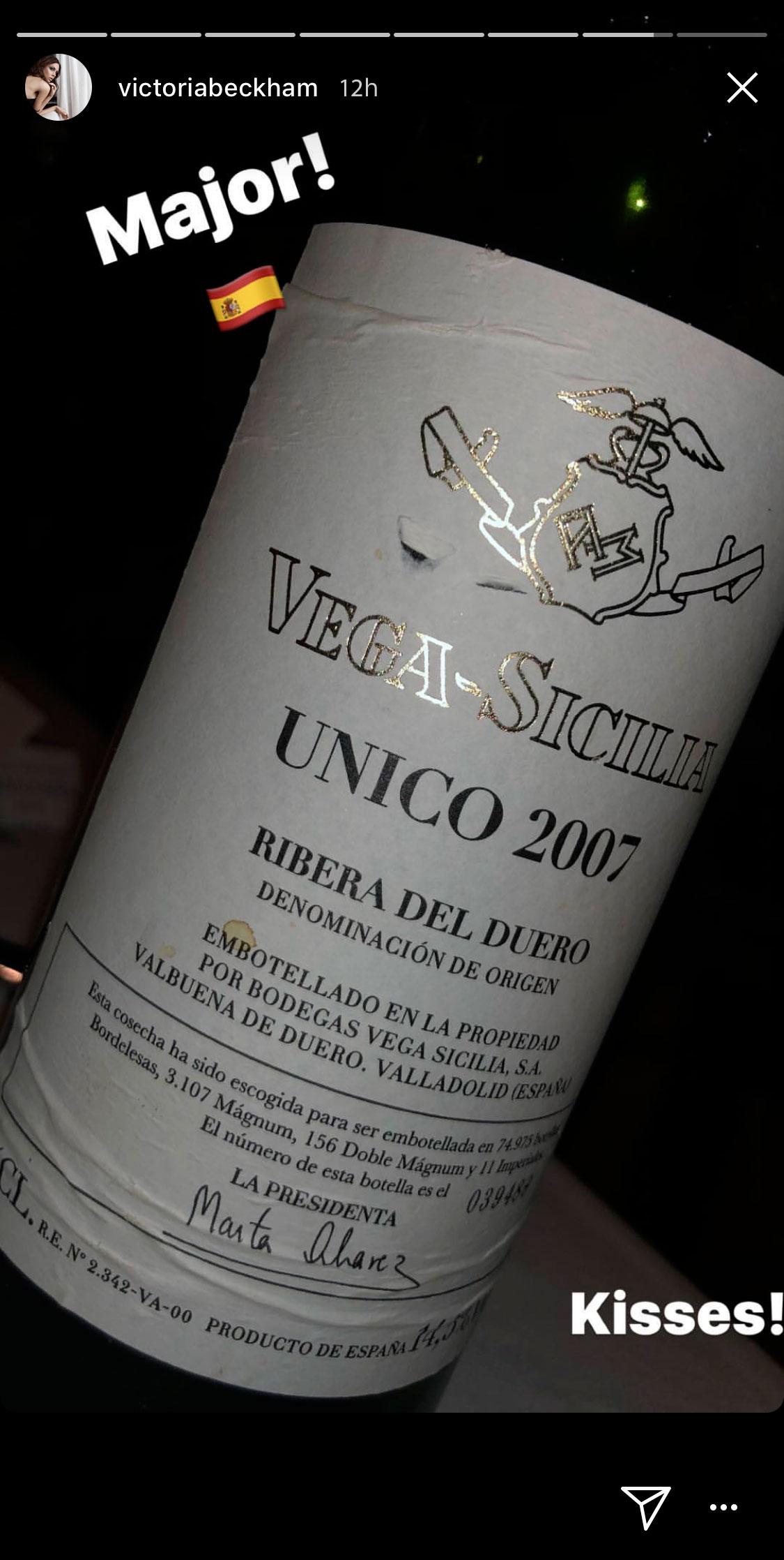 Victoria Beckham se enamora de uno de los vinos españoles más exclusivos