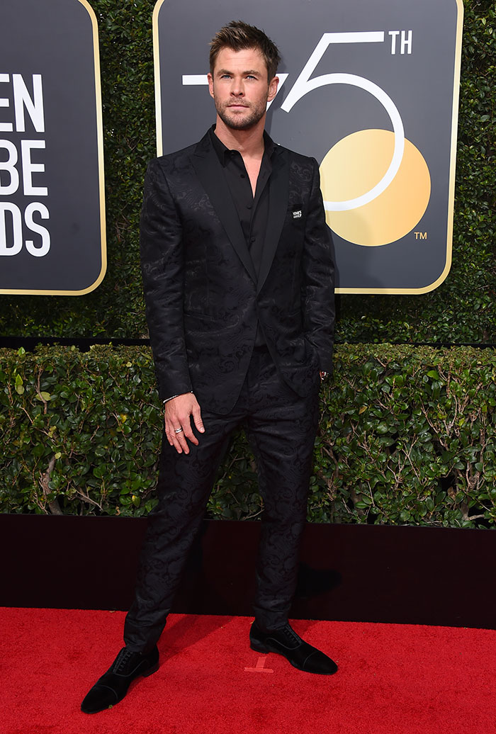 Chris Hemsworth durante los Globos de Oro 2018