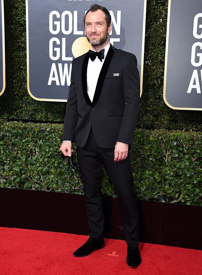 Jude Law durante los Globos de Oro 2018