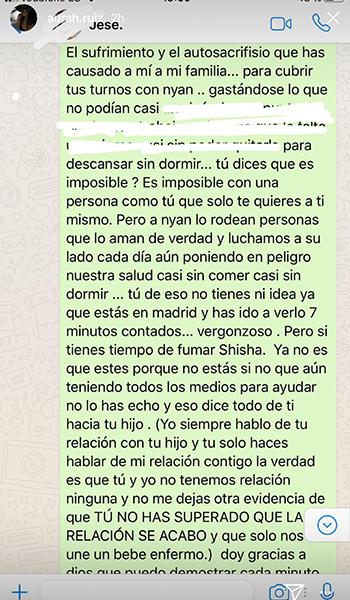 Aurah Ruiz hace públicos los mensajes de Whatsapp que manda a Jesé Rodríguez