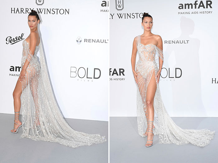 Bella Hadid con diseño de Raph & Russo en la gala AmfAR en el pasado Festival de Cannes / Gtres
