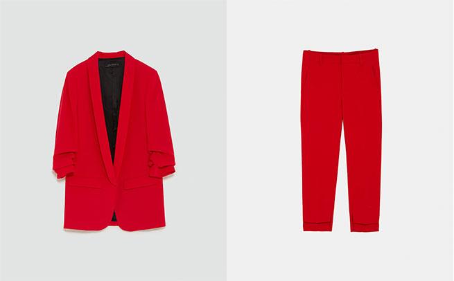 traje rojo zara