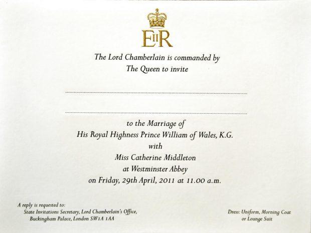 Invitación de boda de Kate Middleton y Guillermo / Kensington