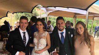 Beatriz Espejel, Koke, Andrea Sesma y Muniaín el día de la boda /Instagram