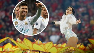 Dua Lipa en la final de la Champions y una imagen del jugador Marco Asensio (Gtres)