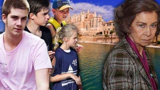 La reina Sofía y los hijos de la infanta Cristina e Iñaki Urdangarin en un fotomontaje de LOOK