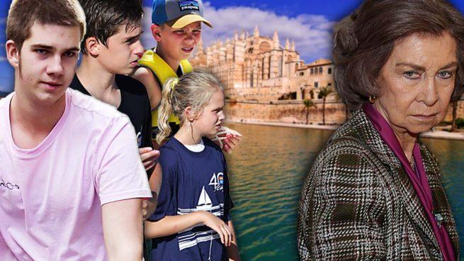La reina Sofía y los hijos de la infanta Cristina e Iñaki Urdangarin