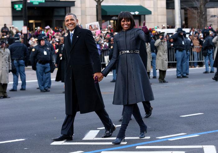 Michelle Obama con abrigo de Thom Browne en la toma de posesión de Barack Obama / Gtres