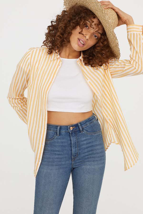 Camisa de rayas amarillas de H&M
